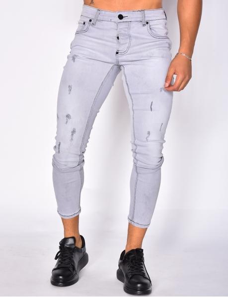 Jeans destroy gris