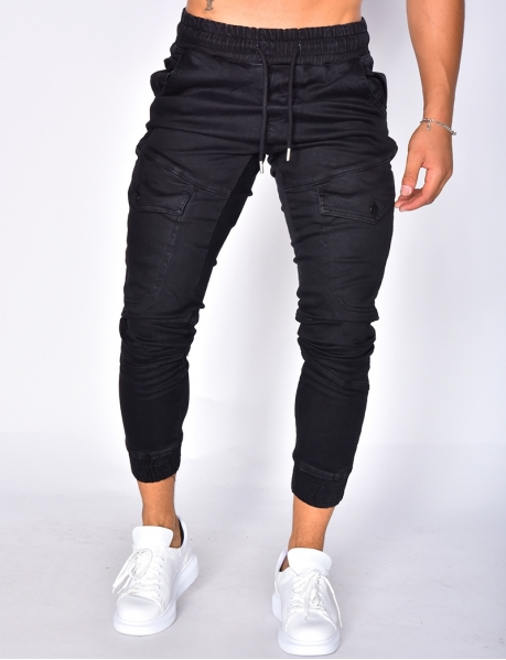 Black Denim Joggers with Pockets