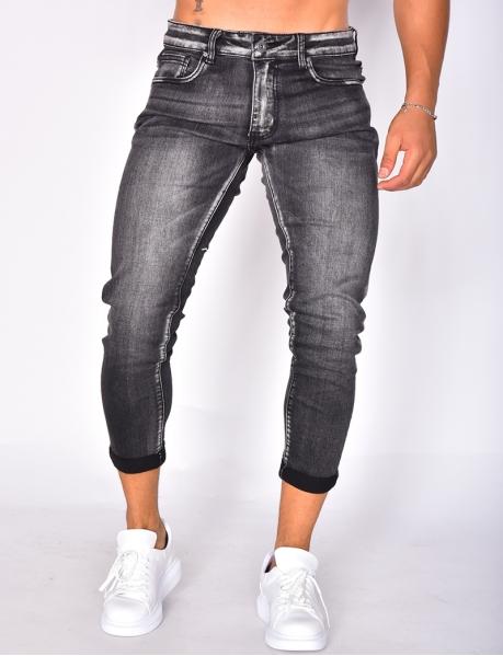 Jeans skinny gris délavé retroussé