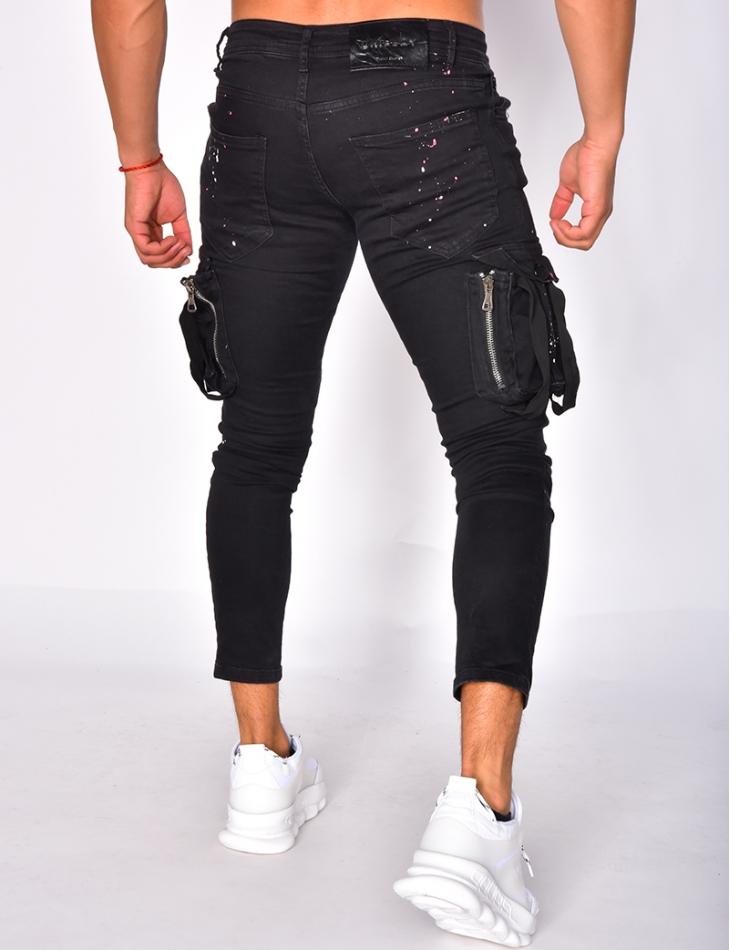 Jeans cargo à zip et tâches de peinture