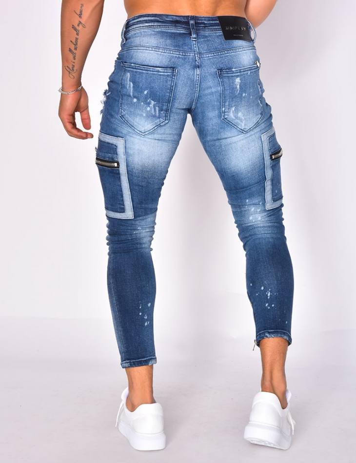 Ripped Cargo Jeans with Zip