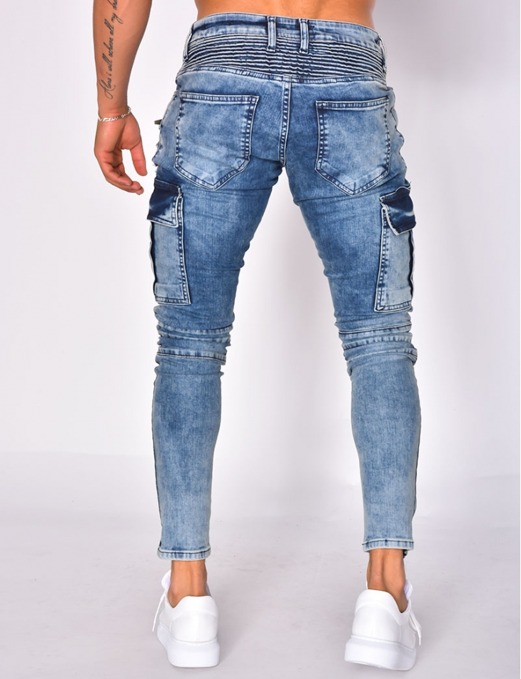 Biker Style Jeans with Pockets