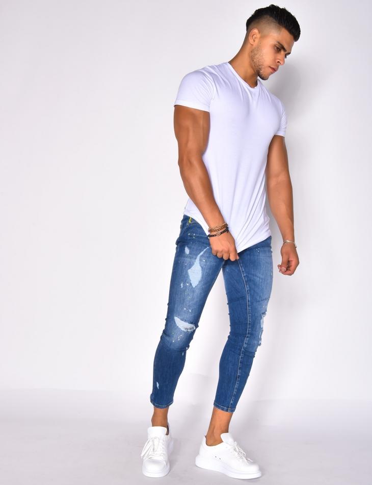 Jeans destroy à doublure colorée