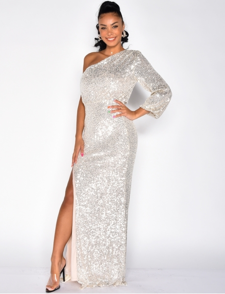 Long Off-the-Shoulder Sequin Dress