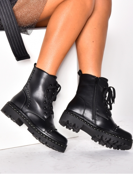 Combat Boots with Black Studs