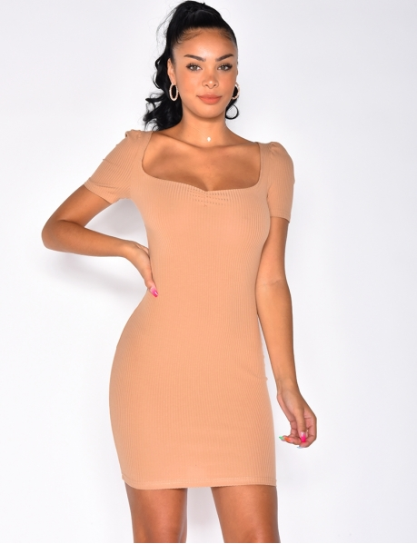 Short Sleeved Ribbed Dress
