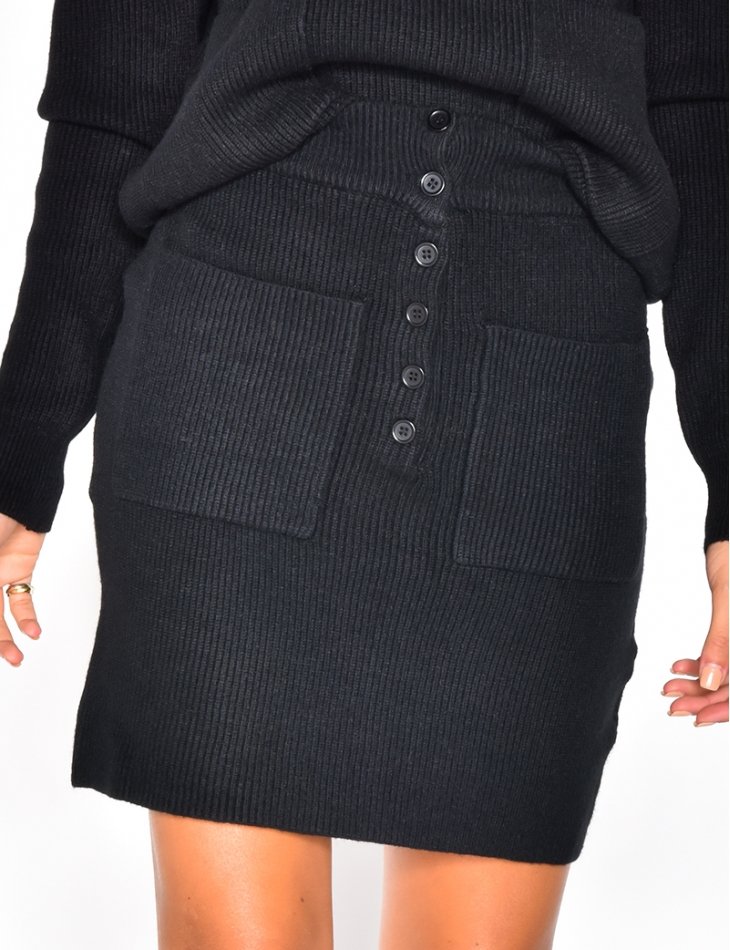 Wool Skirt with Buttons