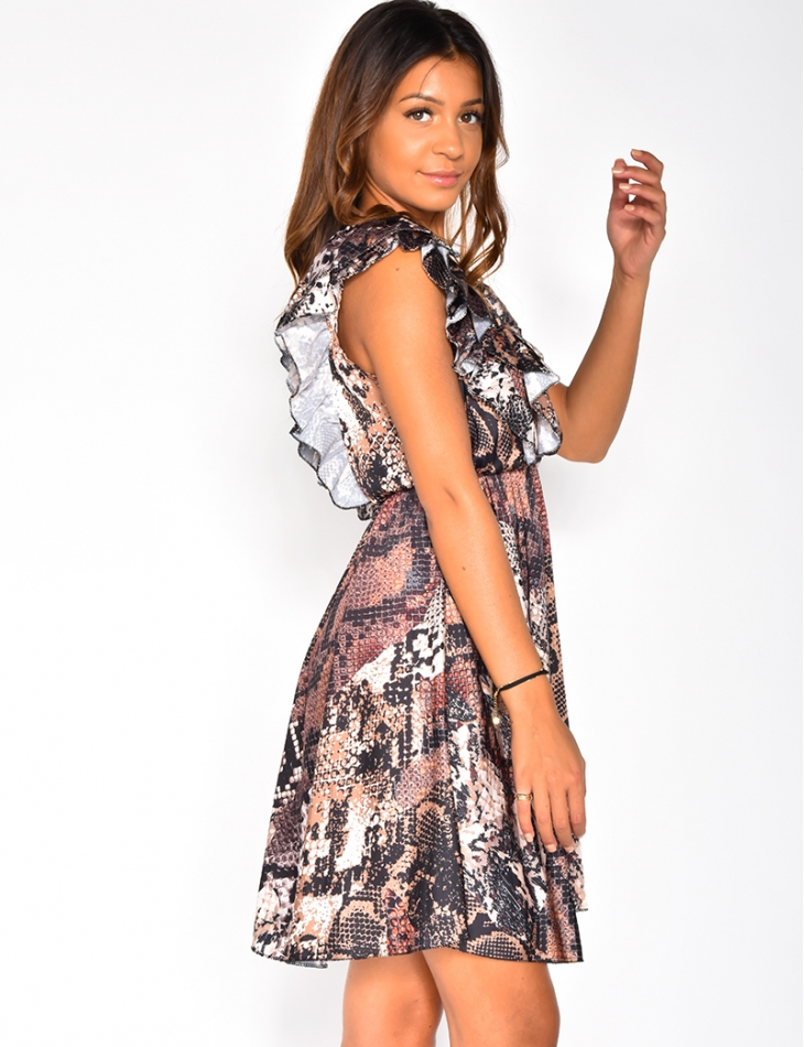 Loose Fit Low-Cut Dress with Ruffles and Snakeskin Pattern