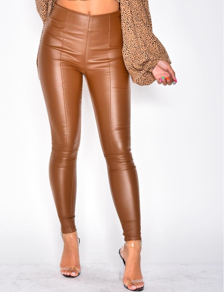 pantalon cuir femme camel