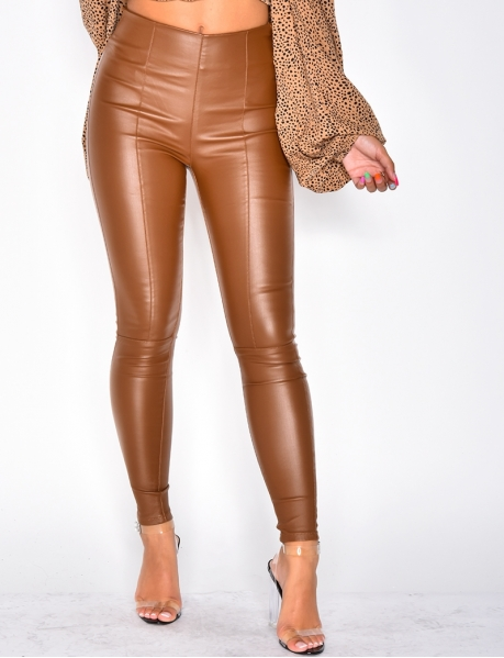 Legging taille haute en cuir camel
