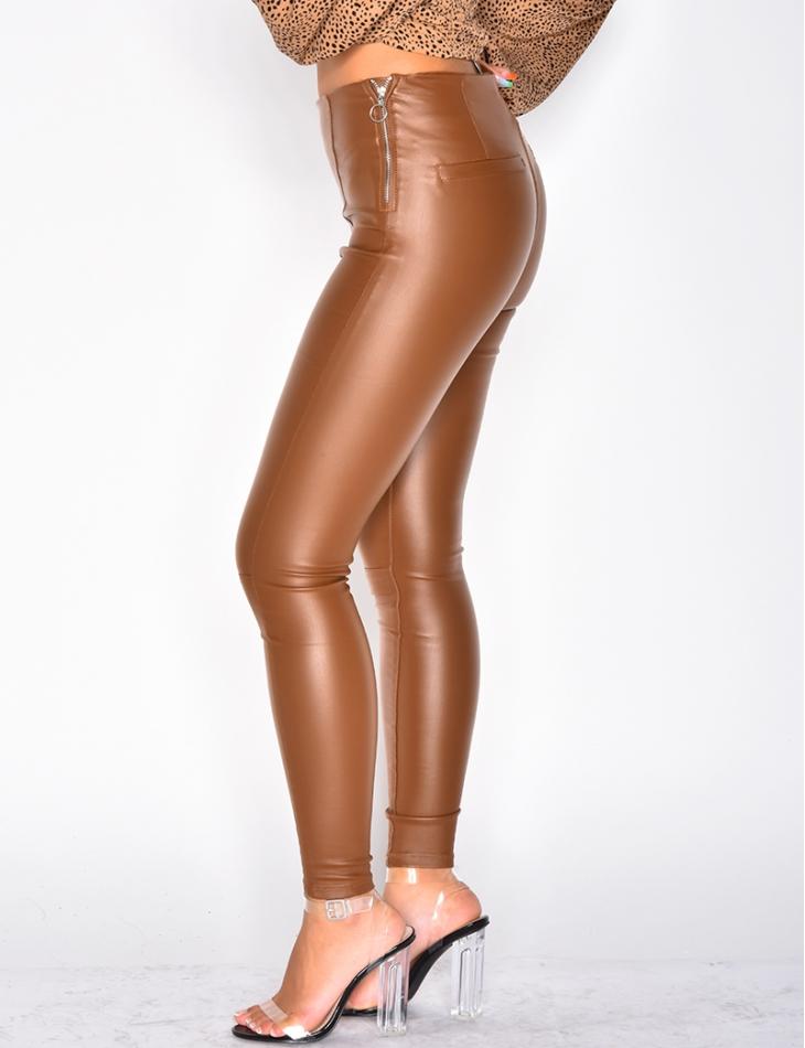 High Waisted Camel Leather Leggings