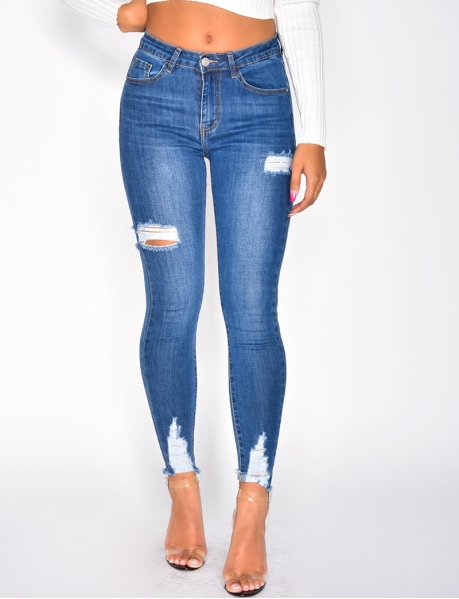 Jeans with Rips on the Thighs