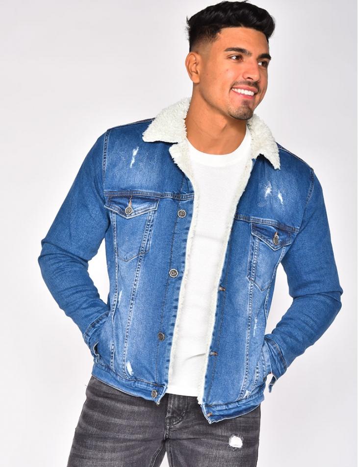 Veste en jeans fourée