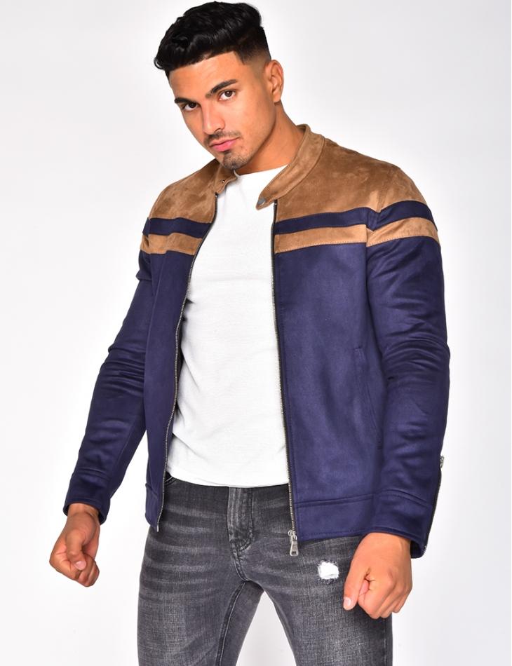 Veste bicolore en suédine à zip aux manches