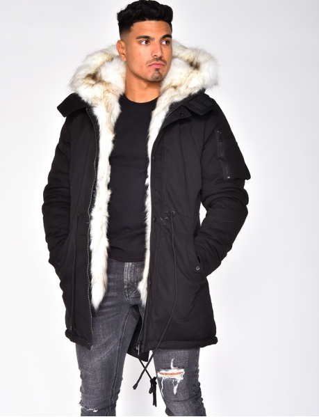 Black Parka with White Fur