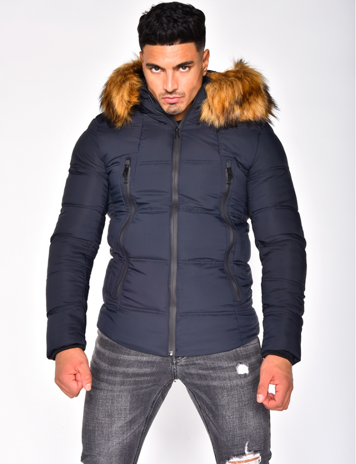 Quilted Jacket with Fur Hood