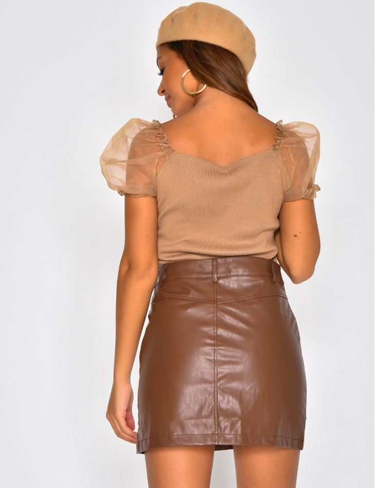 Top with Short Puff Sleeves
