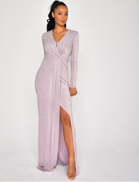 Long Drape Glittery Dress
