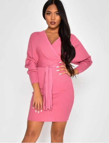 Ribbed Wrapover Dress