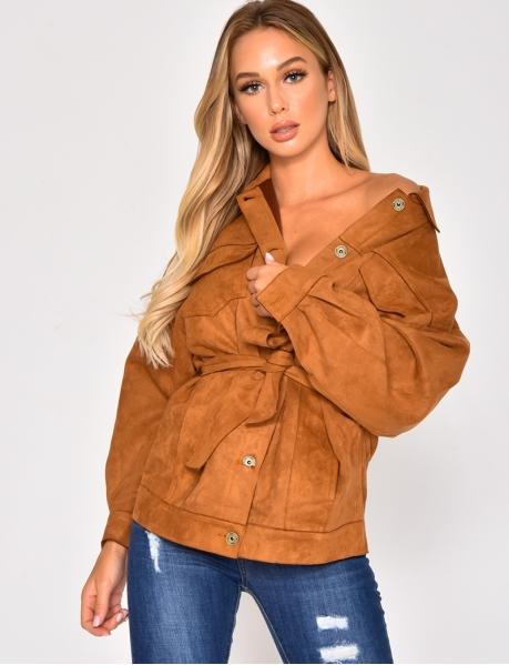 Oversize-Jacke aus Wildlederimitat zum Binden
