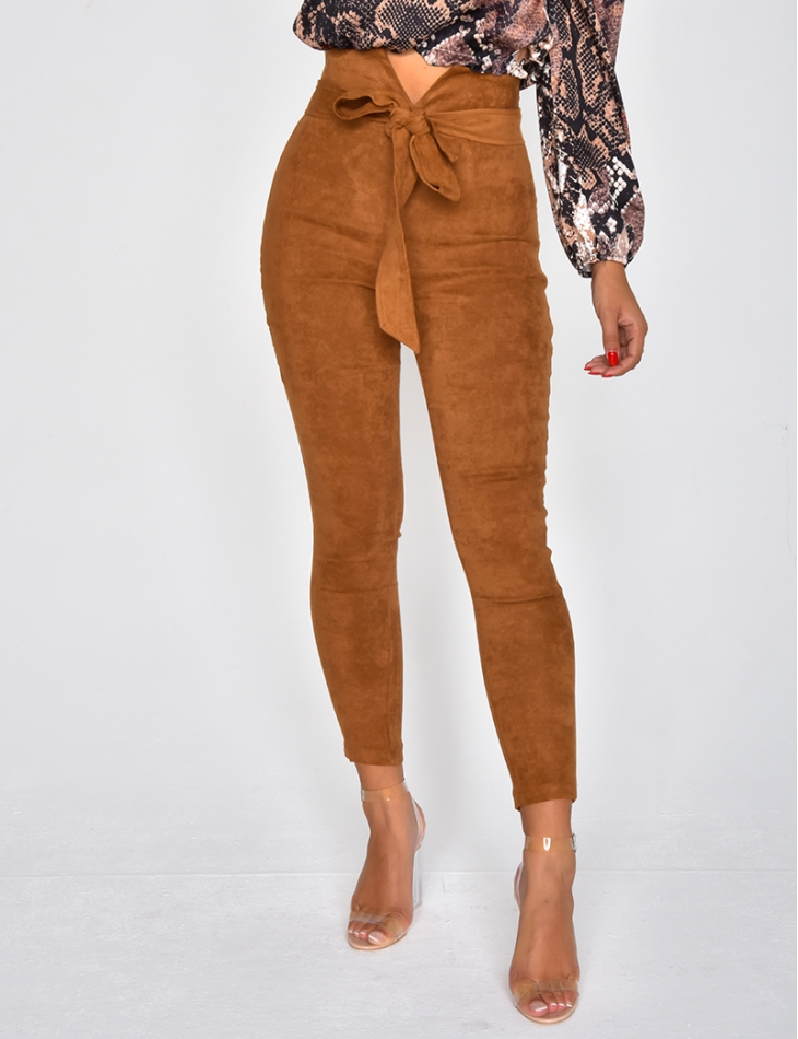 High Waisted Suedette Tie Trousers