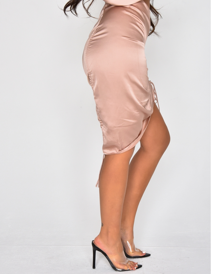 Satin Gathered Skirt