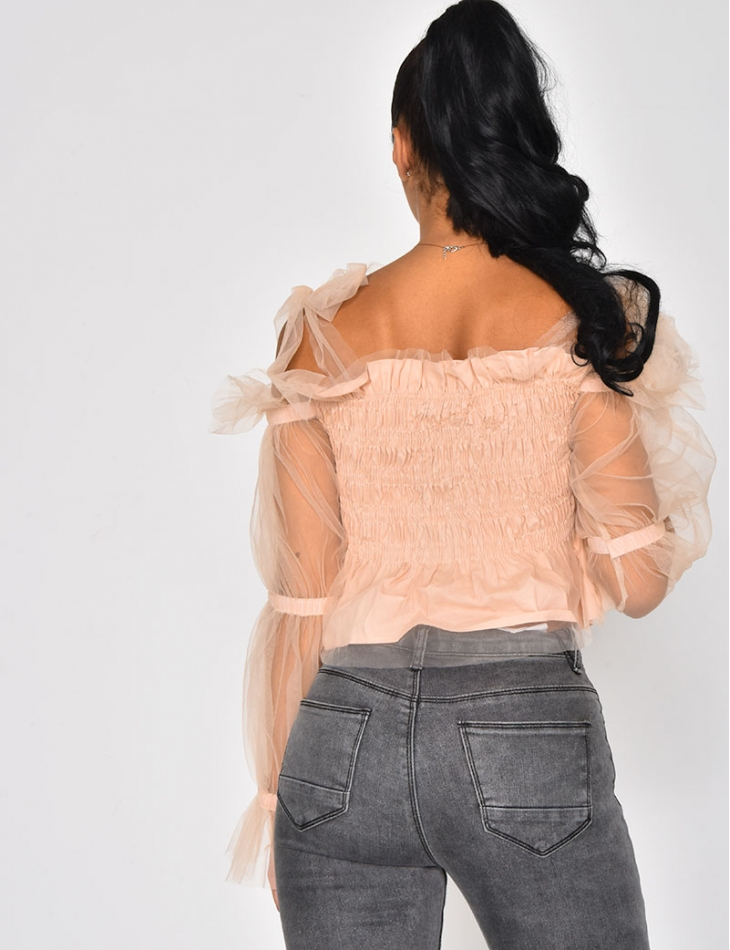 Crop Top with Tulle Sleeves