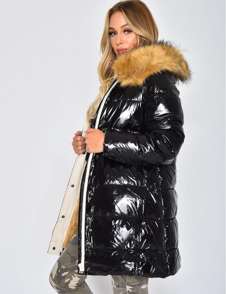 Long Shiny Black Padded Jacket