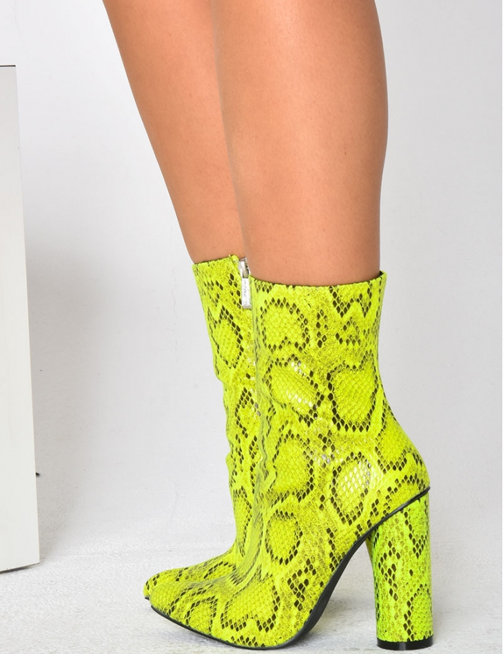 Snakeskin Effect Heeled Ankle Boots