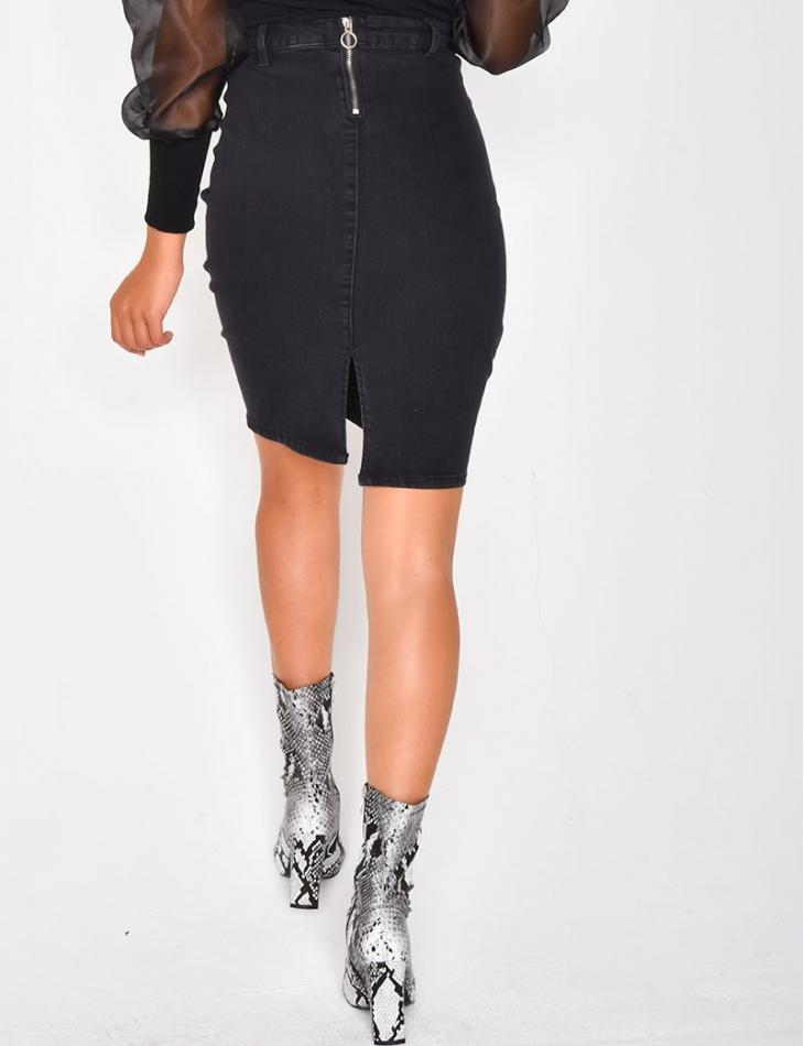 Mid-Length Denim Skirt