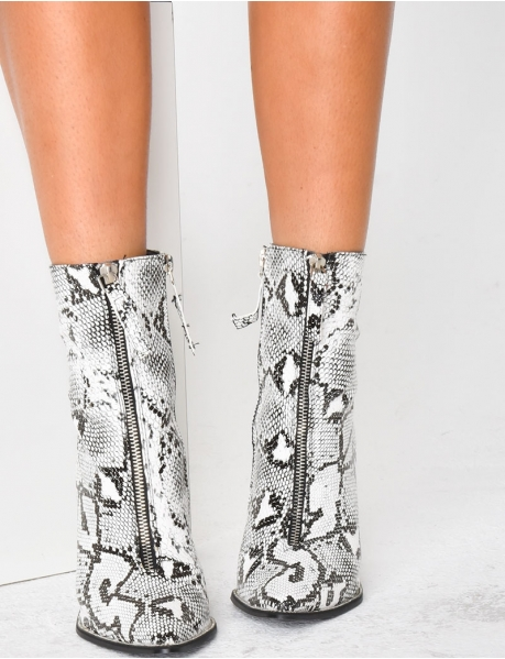 Heeled Ankle Boots with Snakeskin Effect
