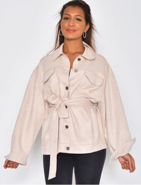 Oversized Suedette Tie Jacket