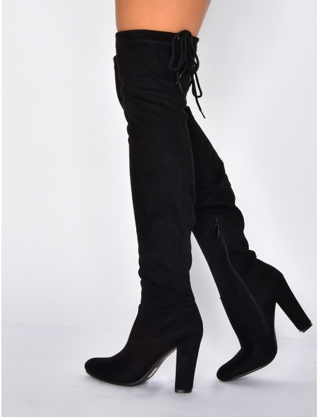 Suedette Thigh High Heeled Boots