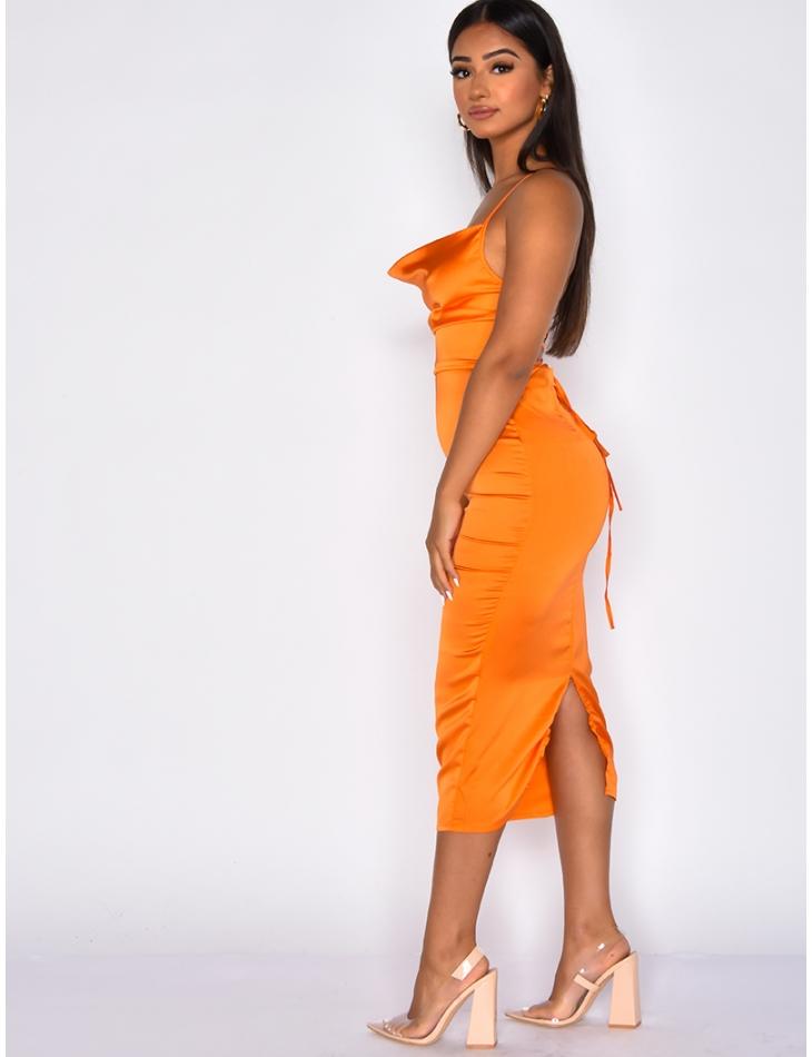 Long Satin Lace Up Dress