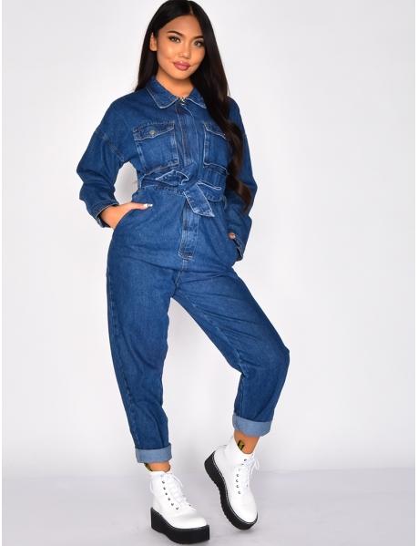 Conbinaison en jeans à poches