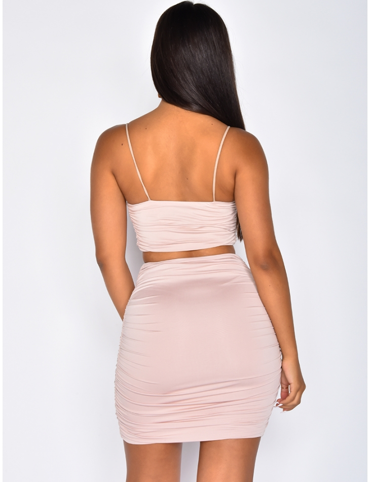 Bodycon Crop Top and Drap Skirt Co-ord