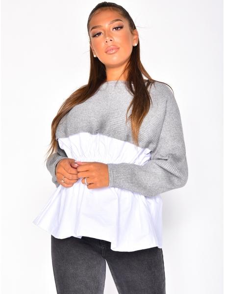 Pull côtelé à chemise integrée
