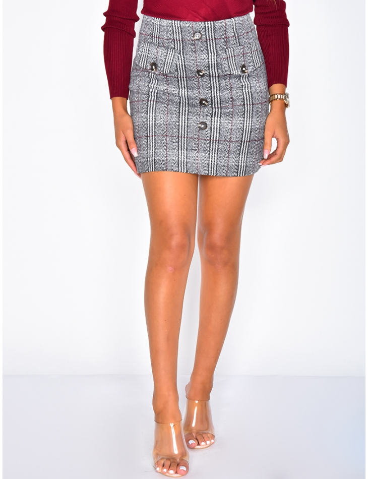 Checked Skirt with Buttons