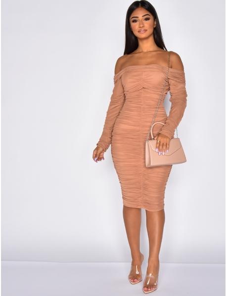 Drap Tulle Dress with Bardot Neckline