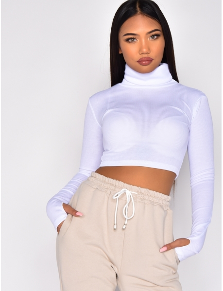 Fluorescent Long-Sleeved Polo Neck Crop Top