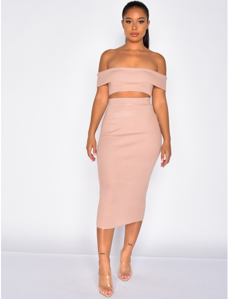 Ribbed Skirt and Bardot Neckline Crop Top Co-ord