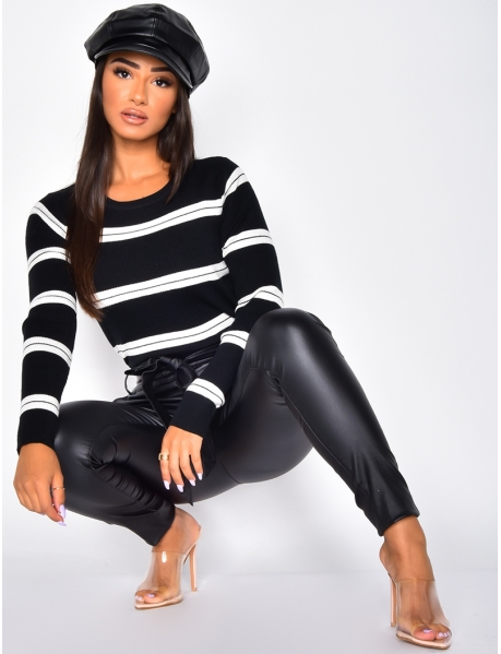 Short Ribbed Jumper with Stripes