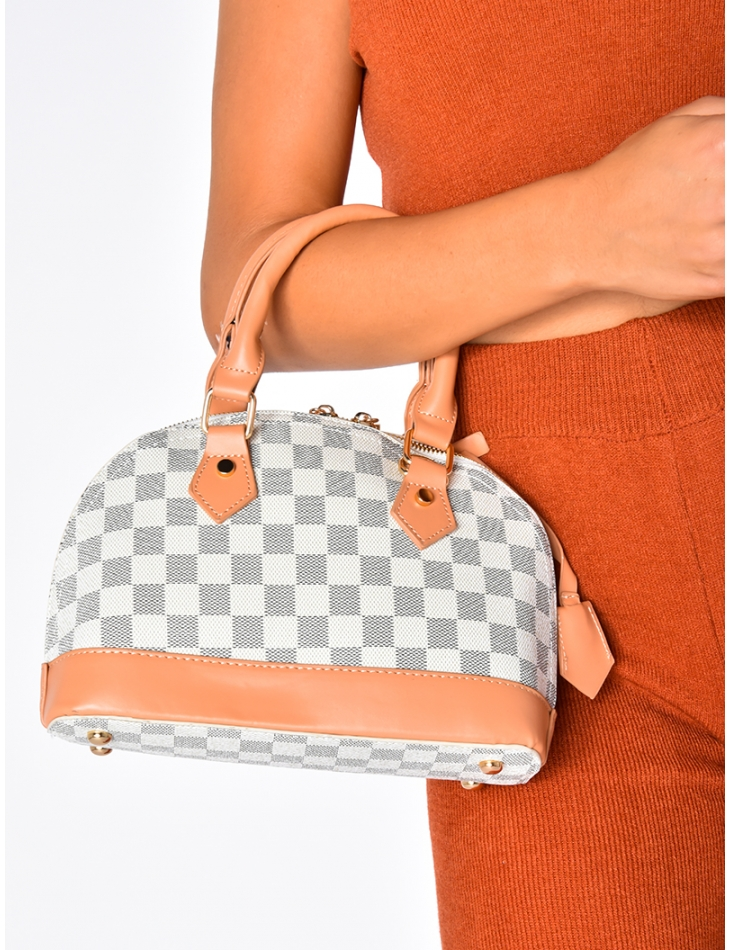 Grey and White Checked Small Bag