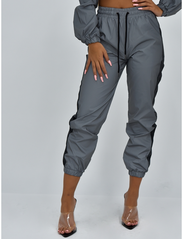 Reflective Jogging Bottoms with Stripes