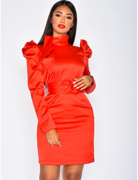 Satin Dress with Puff Shoulders and Belt
