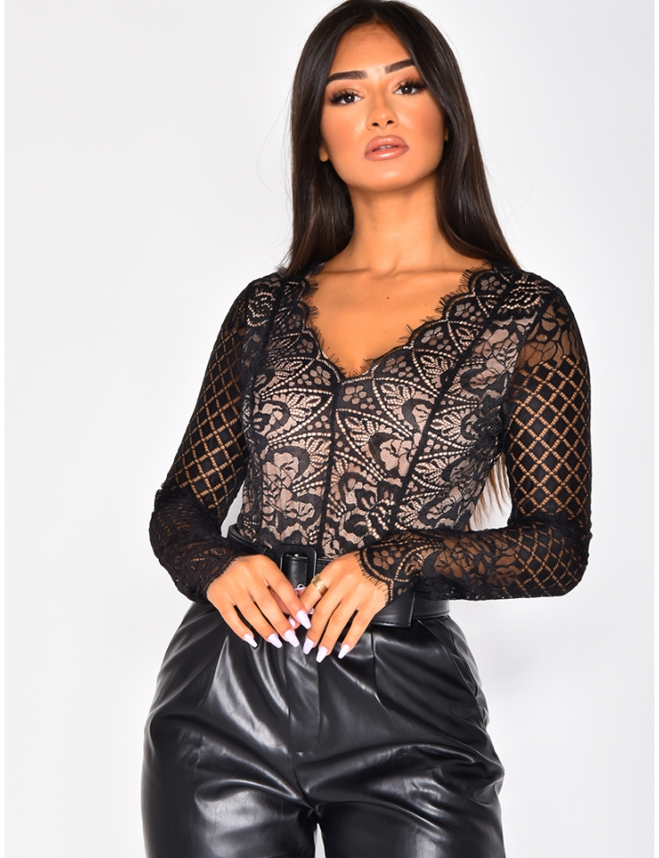 Long-Sleeved Lace Bodysuit
