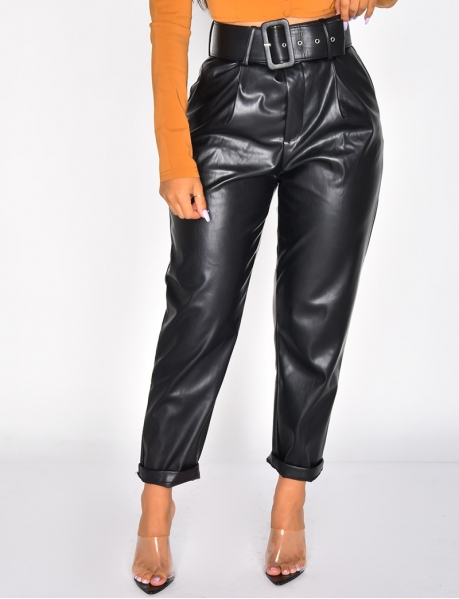 Faux Leather High Waisted Trousers