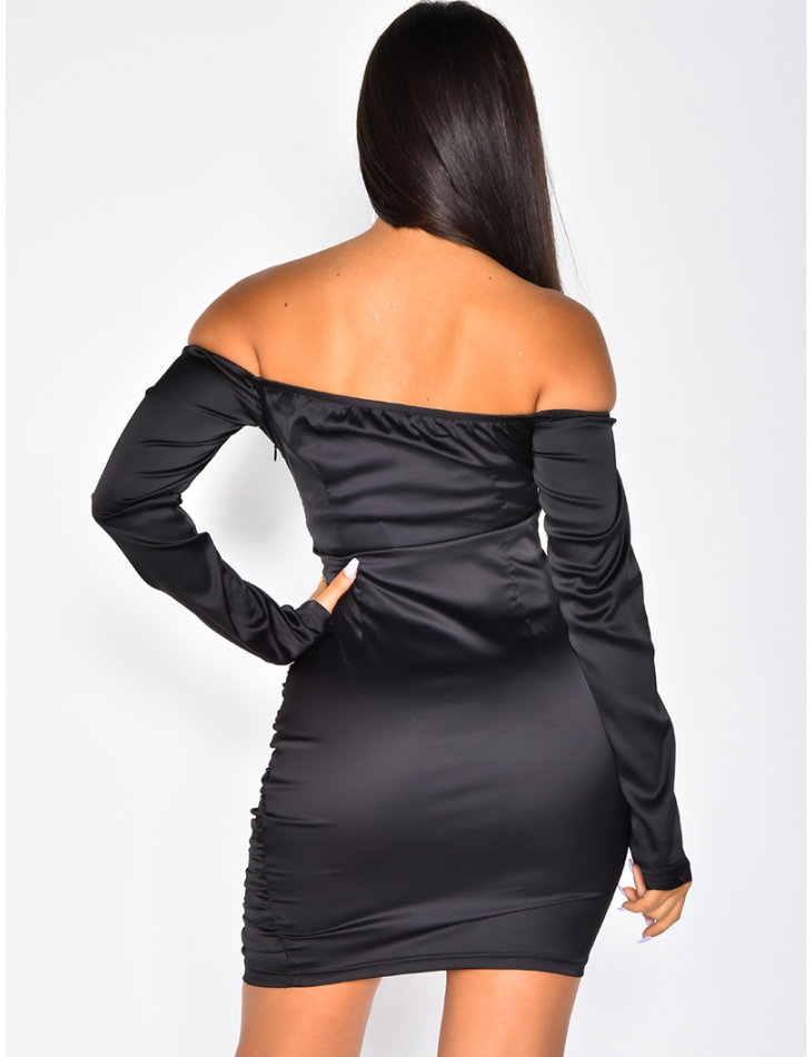 Satin Drape Bodycon Dress