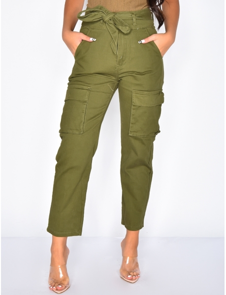 High Waisted Trousers with Pockets