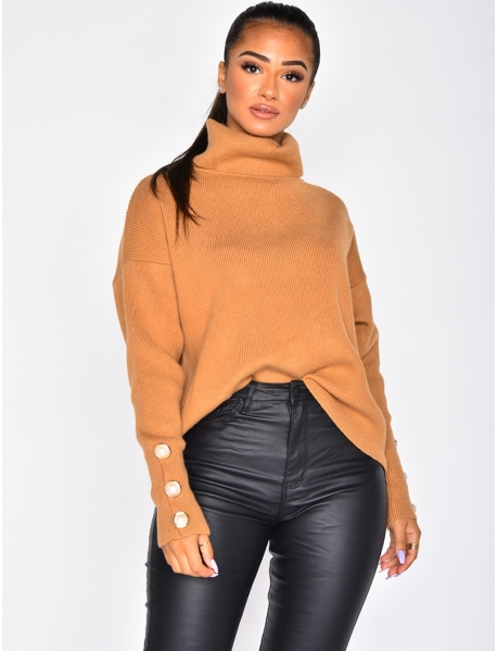 Polo Neck Jumper with Buttons on the Sleeves